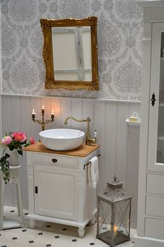 """""""Grenadine"""" country-style washbasin with oak top and towel rail of bathroom furniture-country house, country and love Baños Shabby Chic, Cocina Shabby Chic, Shabby Chic Zimmer, Shabby Chic Kitchen, Style Rustique, Elegant Home Decor, Towel Rail, Bathroom Interior Design, Bathroom Furniture"""