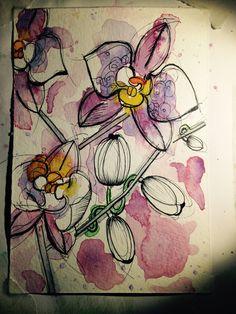 Pigment ink + watercolor