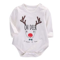 2016 Christmas Gift Baby Boys Girls Clothes Long Sleeve Cotton Deer Bodysuit Infant Kids Clothing 0-18M #>=#>=#>=#>=#> Click on the pin to check out discount price, color, size, shipping, etc. Save and like it!