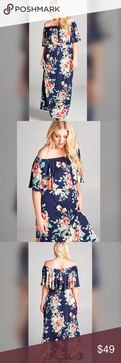 👌👌PLUS👌👌NEW👌👌Off the Shoulder Maxi Dress Off the shoulder Navy maxi dress with an elastic neckline and waistline. Made in a soft magnified floral print. Feel like a goddess in this dream of a dress that shows off your body in all the right places!!  95% Rayon 5% Spandex. Dresses Maxi