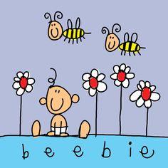 Geboortekaart van Babette Harms Handmade Invitations, Paper Crafts For Kids, I Love Reading, Stick Figures, Cute Illustration, Digital Stamps, Baby Cards, Easy Drawings, Cute Cartoon