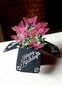 Pop Up Flower Cards, Pop Up Box Cards, Card Boxes, Step Cards, Diy Cards, Box Cards Tutorial, Card Tutorials, Tarjetas Pop Up, Exploding Box Card