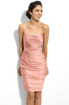 ML Monique Lhuillier Bridesmaids Ruched Strapless Cationic Chiffon Dress (Nordstrom Exclusive) on shopstyle.com