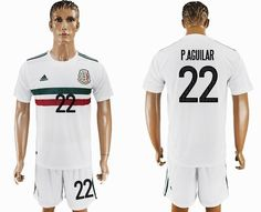 2017-2018 Mexico team #22 P.AGUILAR white soccer jersey away