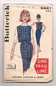 """* Yard Line ~ Butterick 9441 ~ Vintage 60's Sewing Pattern One Yard Line 1 Yd Tunic top & Sheath Skirt, 2 Piece Dress ~ each uses one yard or less of 54"""" fabric ~"""