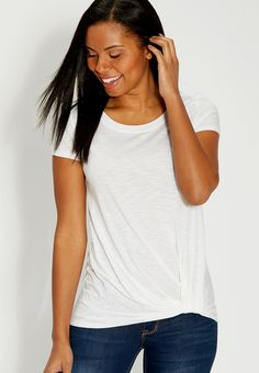 the 24/7 lightweight tee with knot hem (original price, $24.00) available at #Maurices