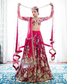 Sabyasachi Bridal Lehenga Online on Happy Shappy. Browse trending collection and price range for bridal and wedding. You can also find 2020 latest design, replica, red designs and rent in Delhi. Sabyasachi Lehenga Bridal, Indian Bridal Lehenga, Red Lehenga, Anarkali, Floral Lehenga, Indian Wedding Fashion, Indian Fashion, Bridal Outfits, Bridal Dresses