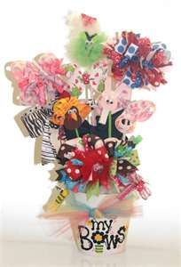 """A """"Year of Bows"""" bow bouquet! The perfect baby shower gift or birthday gift for that special little girl. Hair Bows and Clippies to celebr. Bow Bouquet, Candy Bouquet, Bouquets, Homemade Gifts, Diy Gifts, Cheer Gifts, Little Girl Crafts, Crayola, Jackson"""