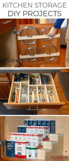 Come learn how to make 3 DIY Kitchen Storage and Organization Projects. Make your own Pot Lid Holder, Custom Drawer Organizer and Spice Rack. Minimal Tools Needed, Perfect for Beginners! Diy Kitchen Storage, Kitchen Drawers, Diy Storage, Storage Design, Kitchen Cabinets, Clever Storage Ideas, Pot Lid Storage, Knife Storage, Cabinet Storage