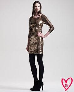 Metallic PERFECTION! BG 111th Anniversary Sequined Long-Sleeve Dress by @Alice_Olivia at @Bergdorfs www.ChristinaStyles.com