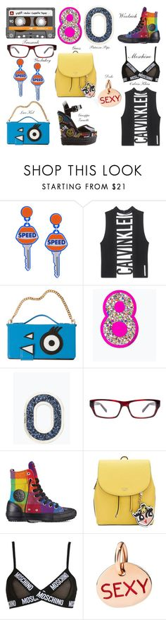 """""""Anni 80"""" by alvufashionstyle ❤ liked on Polyvore featuring CASSETTE, Yazbukey, Calvin Klein Jeans, Trussardi, Converse, Moschino, Giuseppe Zanotti, alvufashionstyle and alvuelafranco"""