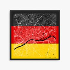 Frankfurt City Street Map Frankfurt Germany Flag Art Poster