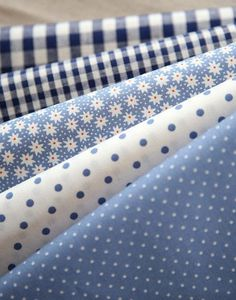 Blue Floral dots and check: