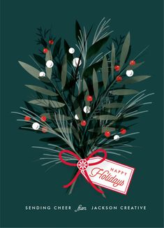 An Elegant Non-photo Holiday Card Featuring Original, Hand-drawn Botanical Illustration. Botanical, Blue Corporate Holiday Cards From Minted By Independent Artist Melanie Kosuge. Christmas Graphics, Christmas Art, Christmas Decorations, Corporate Holiday Cards, Business Holiday Cards, Business Cards, Illustration Noel, Christmas Illustration Design, Christmas Graphic Design