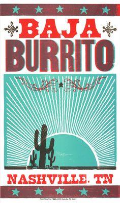 baja burrito- hatch show print.