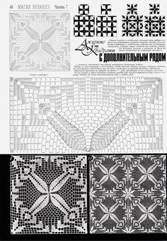Irish lace, crochet, crochet patterns, clothing and decorations for the house, crocheted. Russian Crochet, Crochet Art, Thread Crochet, Irish Crochet, Vintage Crochet, Crochet Stitches, Crochet Motif Patterns, Crochet Diagram, Square Patterns