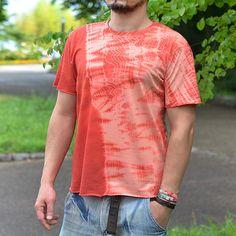 Shibori dyed handcrafted t-shirt. Irregular damaged look.
