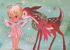 Vintage Pink Christmas Card angel with deer Old Time Christmas, Old Fashioned Christmas, Christmas Gift Tags, Christmas Angels, Christmas Greetings, Christmas Parties, Vintage Christmas Images, Retro Christmas, Vintage Holiday