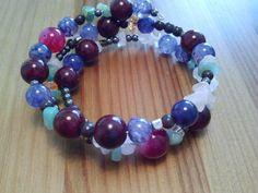 Beaded handmade bracelet with mixed semi prescious stones on memory wire