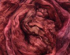 Hand Dyed Silk Brick, A1Grade Mulberry Silk Tops, Luxury Silk Spinning Fibre, Pure Silk Roving,  No.02 Antique Red