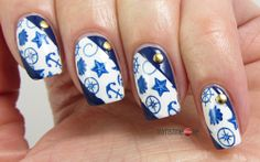 Blue Nautical Nails for Blue Friday #16