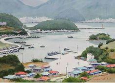 욕지도 story x watercolor dn ppaper watercolor by Jung in sung Jung In Sung, Korean Art, River, Landscape, Artwork, Painting, Watercolors, Outdoor, Inspiration