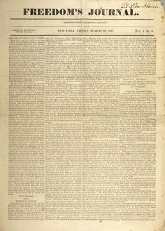 Freedom's Journal: America's First Black Newspaper Founded in 1827 in New York City