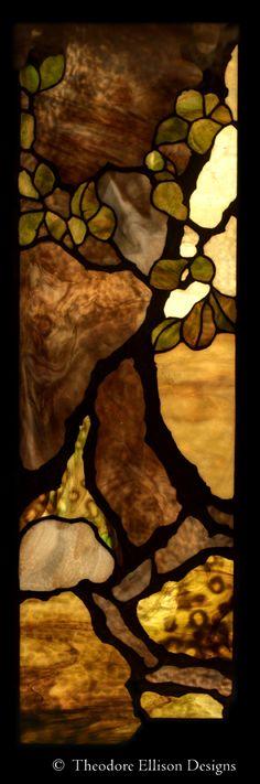 detail - Oak tree leaded glass entry - Theodore Ellison Designs