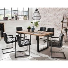 Table<br>Naturel brut et noir Table Extensible, Outdoor Furniture Sets, Outdoor Decor, Palm Beach, Conference Room, Dining Table, Living Room, Inspiration, Home Decor
