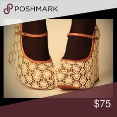Faryl Robin for Free People Crochet Wedges These adorable Faryl Robin for Free People mary-jane style crochet-detail platform wedges are incredibly comfortable and their neutral colors make them an easy pairing! Bohemian/Vintage Vibe! Open to reasonable offers! Free People Shoes Wedges