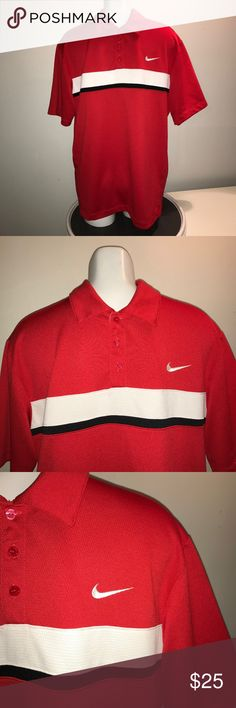 Nike Dri Fit Short Sleeve Casual Shirt Golf Polo Gently pre loved condition, no rips, stains, tears or discolorations.  *Measured Flat* Across shoulders: 21in Sleeve Length: 10in Across Chest (Under arm to under arm): 23in Top to bottom hem (back): 29in Nike Shirts Polos
