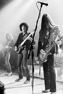 Brian Robertson, Phil Lynott, Scott Gorham performing during the Bad Reputation Tour, 24 November 1977