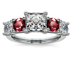 Princess Trellis Ruby and Diamond Gemstone Engagement Ring in White Gold  http://www.brilliance.com/engagement-rings/trellis-ruby-diamond-gemstone-ring-white-gold