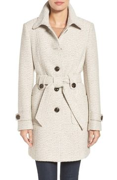Gallery Belted Long Tweed Coat ($178) ❤ liked on Polyvore ...