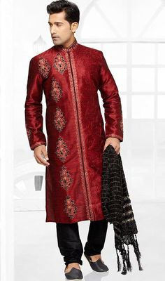 Look like a star in this kurta payjama for men in maroon color embroidered brocade. This attire is showing some really mesmerizing and creative patterns embroidered with lace, resham and stones work. Brocade might vary from actual image. #fancystraightkurta #punjabikurtapyjama #mensherwanikurtapajama