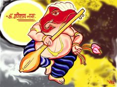 Its an Indian Load name Ganesha.. I had drawn this on Photoshop..even after 4 years It is one of the my best paint...