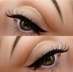 Perfect black eyeliner also love this gold