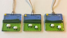 Fused Glass Sheep and Spring Lamb Sun Catcher Picture Hanging Handmade Gift £6.00