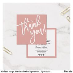 Shop Modern script hand lettered thank you sage green created by moodii. Business Trendy, Small Business Cards, Business Ideas, Thank You Card Design, Thank You Card Template, Card Templates, Business Thank You Notes, Calligraphy Thank You, Welcome Card