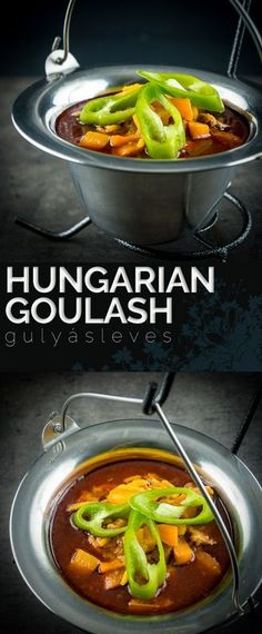 A 'traditional' Hungarian Gulyásleves or simply a wonderful goulash recipe, it really is traditionally a soup! Delicious Dinner Recipes, Healthy Soup Recipes, Lunch Recipes, Vegan Recipes, Goulash Recipes, Beef Recipes, Budget Recipes, Fodmap Recipes, One Pot Meals