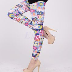 Women Skinny Colorful Leggings Stretchy Sexy Slim Jeggings Pencil Pants