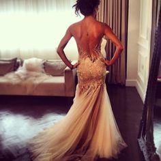 Backless gold wedding dress