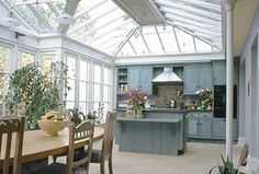 Top Remodel Conservatory Windows for Your Home, Apartment on A Budget Greenhouse Kitchen, Conservatory Kitchen, Conservatory Design, Sunroom Kitchen, Conservatory Extension, Kitchen Living, Living Room, Gazebos, Glass Extension