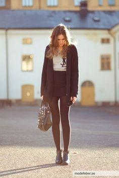 Rodebjer Cardigan, Yves Saint Laurent T Shirt, Acne Studios Skirt, Hope Shoes, Balenciaga Bag