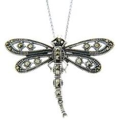Dolce Giavonna Silver Overlay Marcasite Dragonfly Necklace