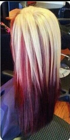 reverse ombre blonde red n purple