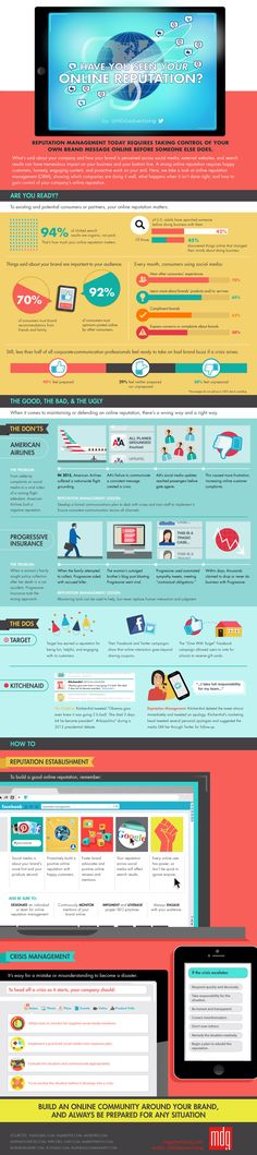 [INFOGRAPHIC] The Key to Building a Strong Online Reputation: Facts; Do's/Dont's; How To; Crisis Management; #SEO #LocalSEO #SearchEngineOptimization #Google #SEM #SMM #Marketing #SocialMarketing