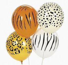 Fun Express Jungle Animal Print Safari Party Balloons - 11 Inch - 50 Piece Pack