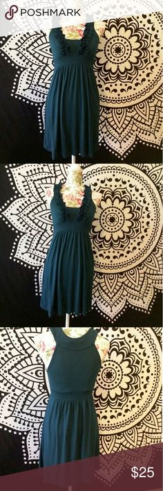 Blue Lush Dress Dark Blue/Green Lush Dress with Ruffle Trim. Super lightweight and comfy. Lush Dresses Midi