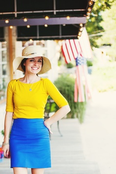 Bright yellow and blue colorblock look, floppy summer hat
